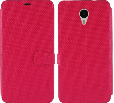 Cool Mango Flip Cover for Meizu M1 Note(Cherry Red, Artificial Leather)