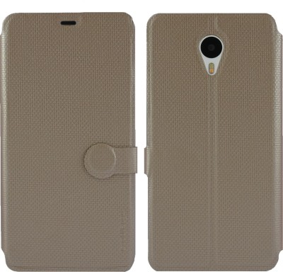 Cool Mango Flip Cover for Meizu M1 Note(Royal Gold, Artificial Leather)