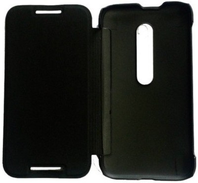 Coverage Flip Cover for Motorola Moto X Play Black Coverage Plain Cases   Covers
