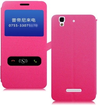 Heartly Flip Cover for Micromax Yu Yureka Cyanogenmod(Pink, Artificial Leather)