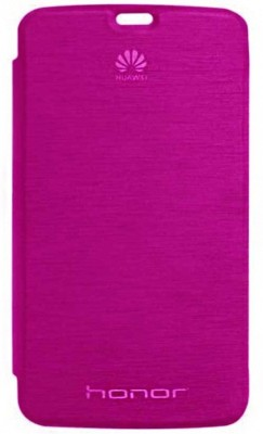 Hnys Flip Cover for Honor Holly U19(Dark Pink, Artificial Leather)