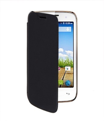 Coverage Flip Cover for Micromax Yu Yureka Black Coverage Plain Cases   Covers
