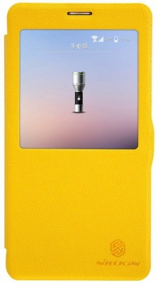 Nillkin Flip Cover for Samsung Galaxy Note 4 SM-N910G N910 SM-N910C(Yellow, Artificial Leather)