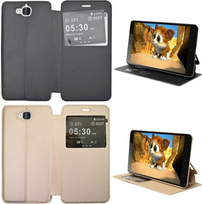 Coverage Flip Cover for Honor Holly 2 Plus Gold, Black