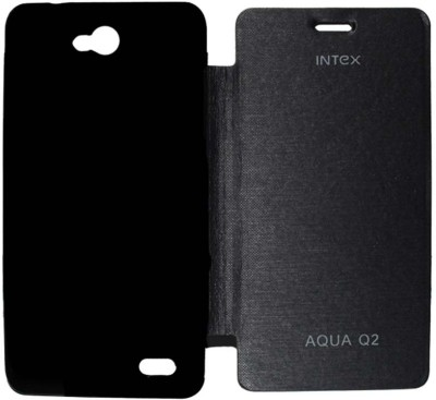 Coverage Flip Cover for Intex Aqua Q2(Black, Artificial Leather, Plastic)