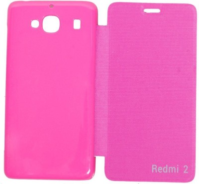 COVERNEW Flip Cover for Mi Redmi 2 Prime Pink COVERNEW Plain Cases   Covers