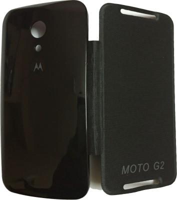 Fairbucks Flip Cover for Motorola Moto G  2nd Generation  Black Fairbucks Plain Cases   Covers