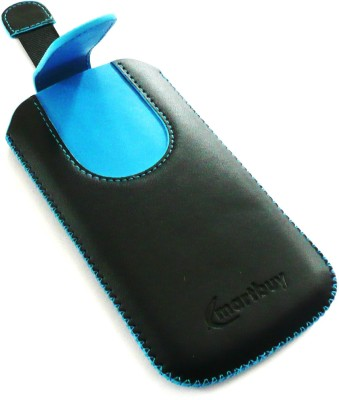 Emartbuy Pouch for Intex Aqua Speed HD(Black/Blue Plain, Artificial Leather)