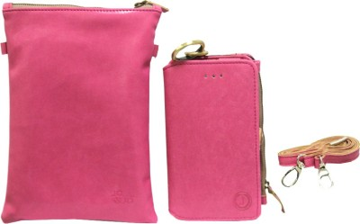 JoJo Pouch for Lava Iris 406Q(Pink, Artificial Leather)