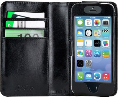 GECKO Flip Cover for Apple iPhone 5, 5S Black