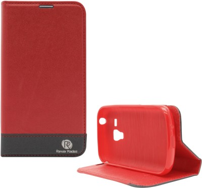 PR Wallet Case Cover for Samsung Galaxy S Duos s7562, S Duos 2 s7582(Red, Artificial Leather, Rubber)