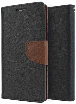 VPS Wallet Case Cover for Samsung Galaxy Mega5.8 9150(Brown Black, Artificial Leather)