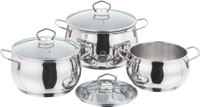 Vinod 3pc Tall belly Casserole 16/18/20 cm Pack of 3 Cook and Serve Casserole Set