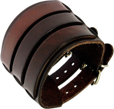 Sanaa Creations PUNK ROCK NEW UNISEX MULTI THONG BRAIDED WIDE 3 BUCKLES GENUINE LEATHER Alloy Beaded Charm at flipkart