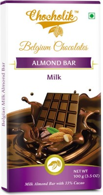 Chocholik Milk Almond Bar - Luxury Belgium Chocolate Bars(100 g) at flipkart
