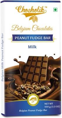 Chocholik Milk Peanut Fudge Bar - Luxury Belgium Chocolate Bars(100 g) at flipkart