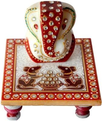 Shyam Fashion Red Marble Decorative Ganesh Chowki - 305 Marble Pooja Chowki(White)  available at flipkart for Rs.145