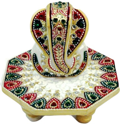 Traditional Rajasthan Ganesh Marble Pooja Chowki(Multicolor, Pack of 2) at flipkart