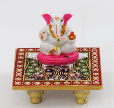 SR Crafts Lord Ganesha seated on a pure white marble chowki with hand painted motifs of Peacock design. Marble All Purpose Chowki(Multicolor, Pack of 2)  available at flipkart for Rs.538