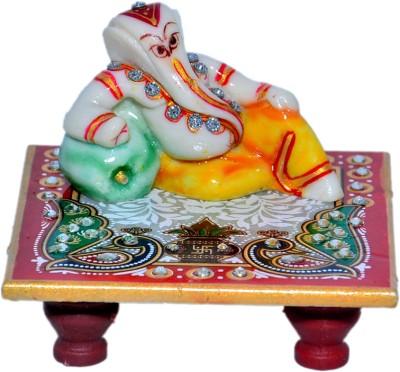 Buy Chave Marble Kesariya Ganesh Ganeshji With Chowki