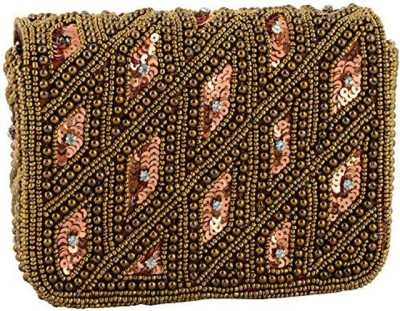 Duchess Women Wedding, Party Brown, Gold  Clutch