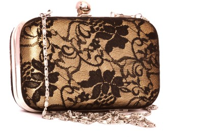 Berrypeckers Women Party Gold, Black  Clutch at flipkart