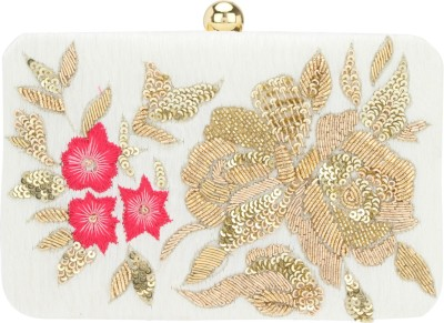 D'oro Women Party White  Clutch