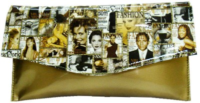 Russo Fashion Women Casual, Party Gold, White  Clutch