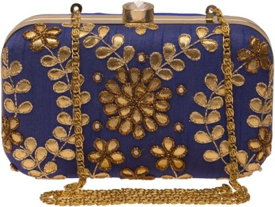 The Indian Handicraft Store Women Party Blue  Clutch