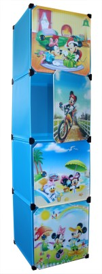 Bani Kids Plastic 4-Cube Storage Rack Organizer with Doors & Cartoon Patterns PP Collapsible Wardrobe(Finish Color - Blue)