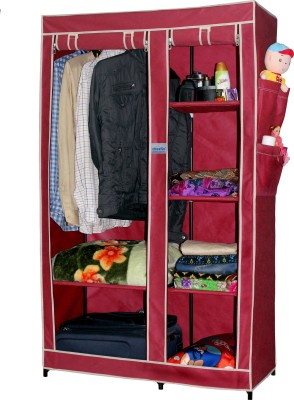 CbeeSo Carbon Steel Collapsible Wardrobe(Finish Color - Dark Maroon)