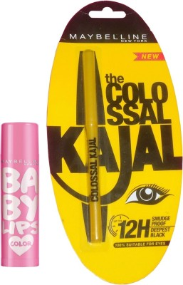 Maybelline Baby Lips Pink Lolita and Colossal Kajal Combo(Set of 2)