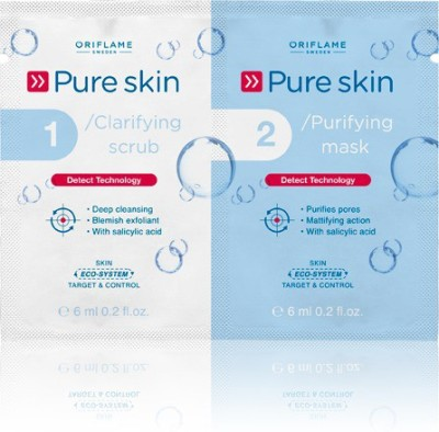Oriflame Sweden Pure Skin Clarifying Scrub and Purifying Mask(Set of 2)  available at flipkart for Rs.109