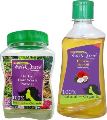 Hairocare Hair Care - Herbal Wash Powder (150g) + Hibiscus Oil (200ml) - Natural conditioner(Set of 2)  available at flipkart for Rs.190