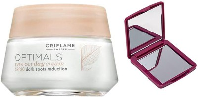 Oriflame Sweden Optimals Even Out Day Cream SPF 20 + Compact Mirror(Set of 2)  available at flipkart for Rs.999