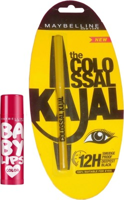 Maybelline Baby Lips Berry Crush and Colossal Kajal Combo(Set of 2)  available at flipkart for Rs.345
