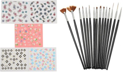 Looks United 15 Pcs Nail Art Brush Set and 5 Self Adhesive Nail Art Stickers Sheets(Set of 20)  available at flipkart for Rs.299