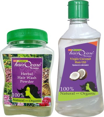 Hairocare Hair Care - Herbal Wash Powder (150g) + Virgin Coconut Oil (200ml) - Natural Moisturizer & Anti-Oxidant(Set of 2)  available at flipkart for Rs.150
