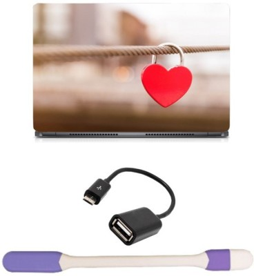Skin Yard Heart Key Chain in Rope Sparkle Laptop Skin with USB LED Light & OTG Cable - 15.6 Inch Combo Set  available at flipkart for Rs.278