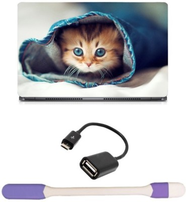 Skin Yard Blue Eyes Cat in Jeans Sparkle Laptop Skin -14.1 Inch with USB LED Light & OTG Cable (Assorted) Combo Set  available at flipkart for Rs.278