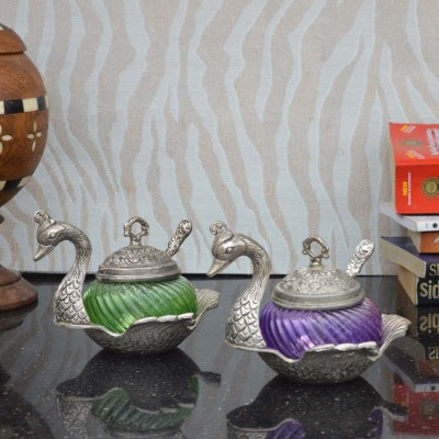 eCraftIndia Set of Crystal Mouth Freshner Containers 2 Piece Condiment Set(Aluminium, Crystal) at flipkart