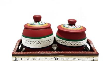 Indikala Handpainted Jars with Ethnic Wooden Tray 2 Piece Condiment Set(Wooden) at flipkart