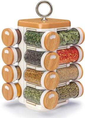 JVS 16 Jar Kitchen Mate Wood Finish 17 Piece Spice Set