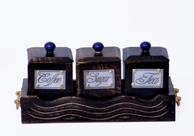 woodenclave Antiquity- Tea, Coffee and Sugar Jar Set with Tray 3 Piece Condiment Set(Wooden) at flipkart