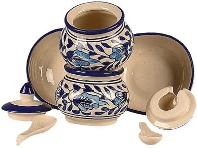 Craftghar Blue Pottery Pickle & Chutney 7 Piece Condiment Set(Ceramic)