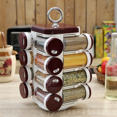 JVS Kitchen Mate 16 Jar Solid Burgandy 16 Piece Spice Set Plastic