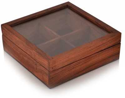 Style My Way Sheesham Wood Handcrafted Spice/Mouth Freshner Multi Utility Box with Glass Lid and Spoon 1 Piece Spice Set Wood