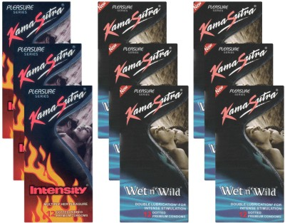 KamaSutra Intensity, Wet n Wild - UPFK200264 Condom(Set of 9, 108S) at flipkart