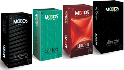 Moods Allnight Dottted Ribbed and Ultrathin Condoms (48 Condoms)
