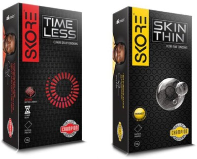 Skore Champion series condoms (2 pack of 10's)time less and skin thin Long Lasting Condom(Set of 2, 20S)  available at flipkart for Rs.234